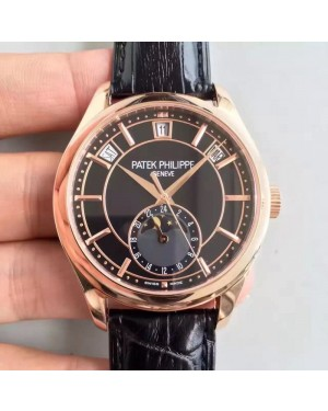 Replica Patek Philippe Annual Calendar 5205R-010 Rose Gold Black Dial Swiss 324SQALU 24H/206
