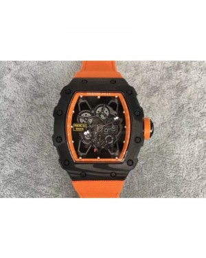 Replica Richard Mille RM35-01 Rafael Nadal Forged Carbon Skeleton Orange Dial Orange Nylon Strap M9015