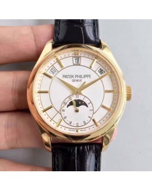 Replica Patek Philippe Annual Calendar 5205G-001 Yellow Gold White Dial Swiss 324SQALU 24H/206