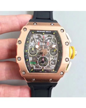 Replica Richard Mille RM011-03 KV V2 Rose Gold Black Skeleton Dial Swiss 7750