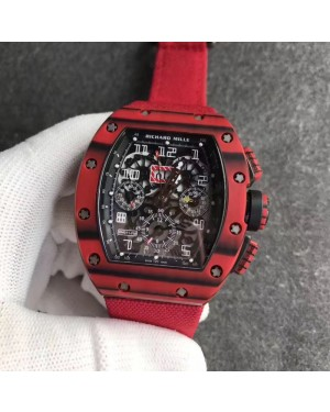 Replica Richard Mille RM011 Red QTPT Flyback Chronograph KV Red Forged Carbon Black Skeleton Dial Swiss 7750