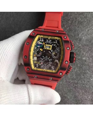 Replica Richard Mille RM011 Red QTPT Flyback Chronograph KV Red Forged Carbon Yellow Skeleton Dial Swiss 7750