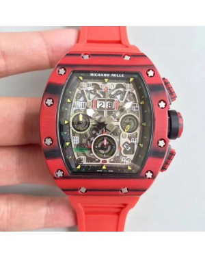Replica Richard Mille RM011-03 Flyback Chronograph KV Red Forged Carbon Black Skeleton Dial Swiss 7750