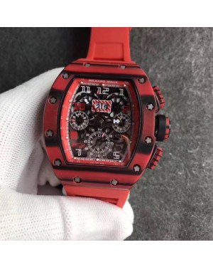 Replica Richard Mille RM011 Red QTPT Flyback Chronograph KV Red Forged Carbon Red Skeleton Dial Swiss 7750