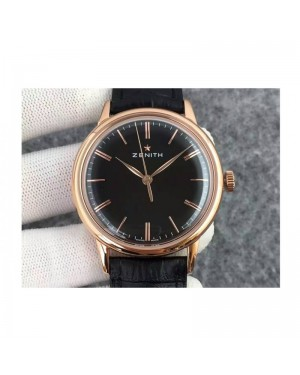 Replica Zenith Elite 6150 18.2270.6150/01.C498 Rose Gold Black Dial Swiss Elite 6150