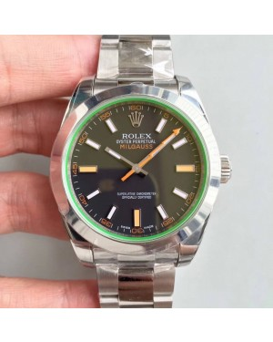 Replica Rolex Milgauss 116400GV AR Stainless Steel Black Dial Swiss 3131