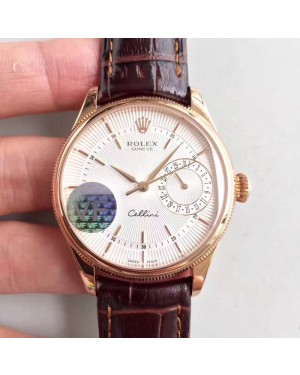 Replica Rolex Cellini Date 50515 VF Rose Gold White Dial Dial Swiss 3165