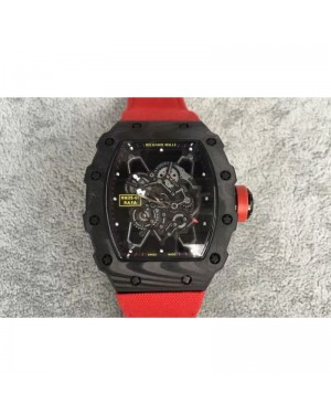 Replica Richard Mille RM35-01 Rafael Nadal Forged Carbon Skeleton Black Dial Red Nylon Strap M9015