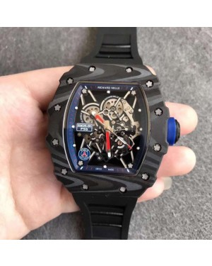 Replica Richard Mille RM35-01 PSG KV Forged Carbon Blue Skeleton Dial M8215