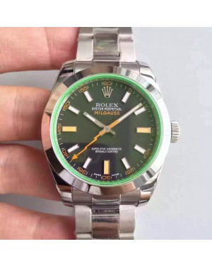 Replica Rolex Milgauss 116400GV JF Stainless Steel Black Dial Swiss 3131