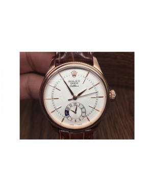 Replica Rolex Cellini 50525 Rose Gold White Dial Swiss 2824