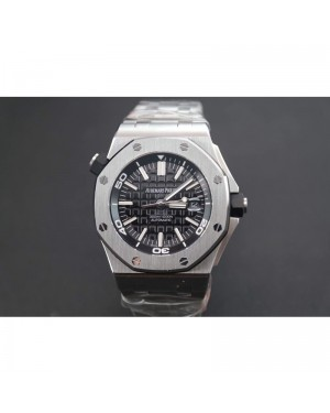 Replica Audemars Piguet Royal Oak Offshore Diver 15703 Stainless Steel Black Dial Stainless Steel Bracelet Swiss 2824