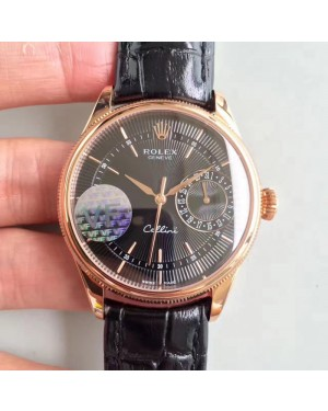 Replica Rolex Cellini Date 50515 VF Rose Gold Black Dial Swiss 3165