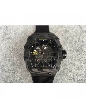 Replica Richard Mille RM35-01 Rafael Nadal Forged Carbon Skeleton Black Dial Black Nylon Strap M9015