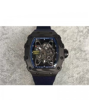 Replica Richard Mille RM35-01 Rafael Nadal Forged Carbon Skeleton Blue Dial Blue Nylon Strap M9015