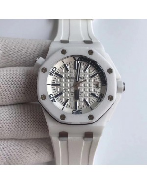 Replica Audemars Piguet Royal Oak Offshore Diver 15707 XF White Ceramic White Dial Swiss 3120
