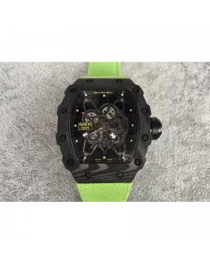 Replica Richard Mille RM35-01 Rafael Nadal Forged Carbon Skeleton Black Dial Green Nylon M9015