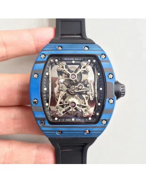 Replica Richard Mille RM50-27-01 NTPT KV Blue Forged Carbon Black & Skeleton Dial M9015