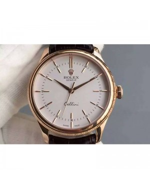 Replica Rolex Cellini Time 50505 Rose Gold White Dial Swiss 2824-2