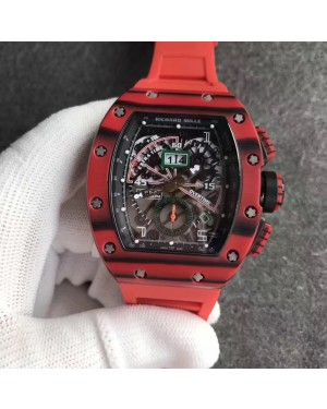 Replica Richard Mille RM011-01 Roberto Mancini Flyback Chronograph KV Red Forged Carbon Black Skeleton Dial Swiss 7750