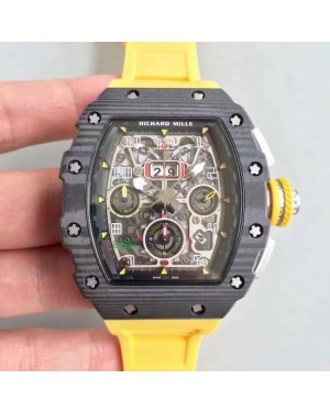 Replica Richard Mille RM011-03 Flyback Chronograph KV Forged Carbon Black Skeleton Dial Swiss 7750