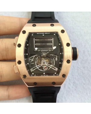 Replica Richard Mille RM69 Erotic Tourbillon KV Rose Gold Black Dial Swiss Caliber RM69